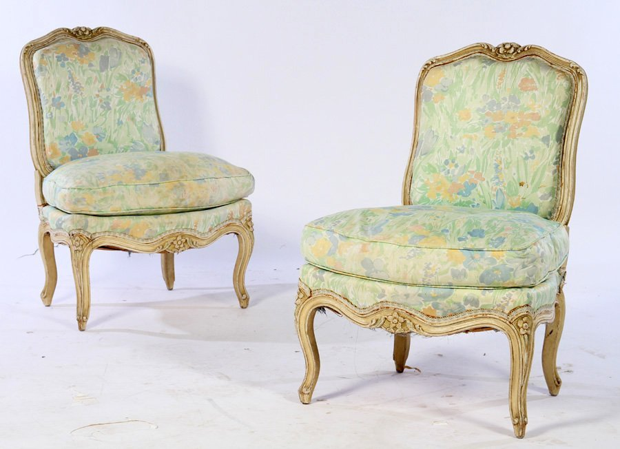 PAIR PAINTED LOUIS XV BOUDOIR CHAIRS 1920