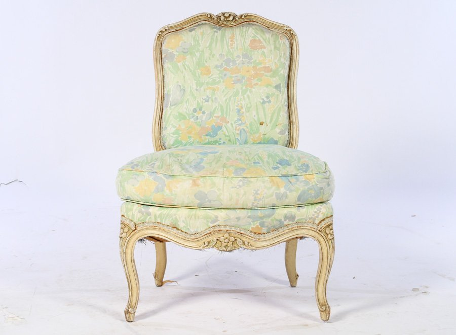PAIR PAINTED LOUIS XV BOUDOIR CHAIRS 1920 - 2