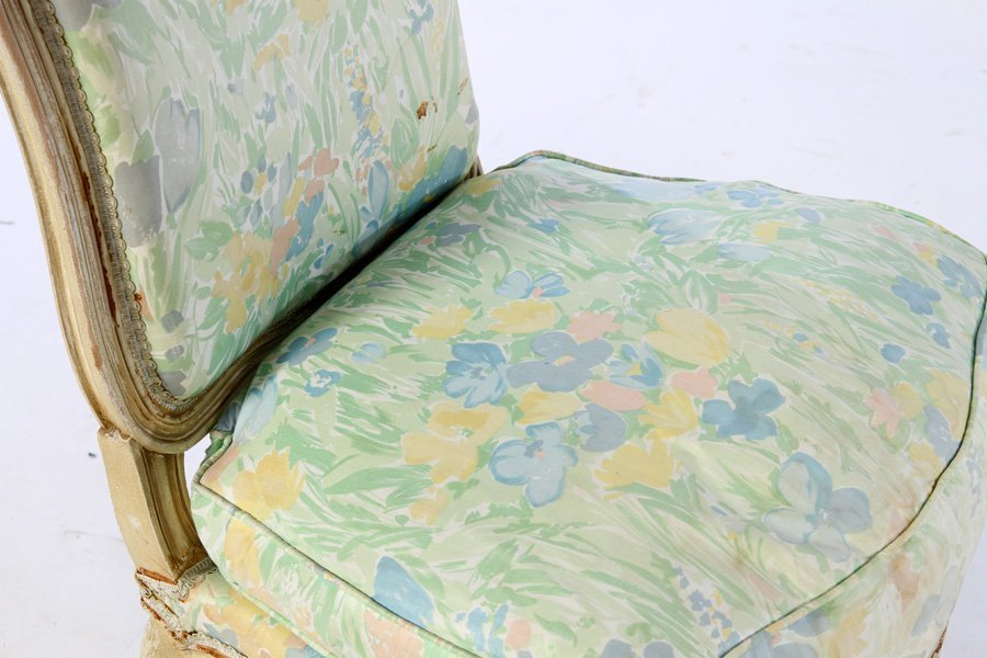 PAIR PAINTED LOUIS XV BOUDOIR CHAIRS 1920 - 4