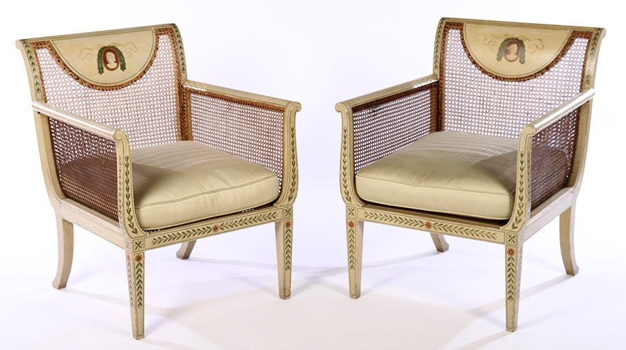 PAIR EARLY 20TH C. ENGLISH ADAMS STYLE ARM CHAIRS