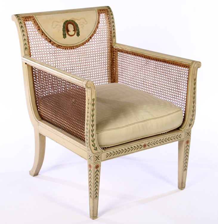 PAIR EARLY 20TH C. ENGLISH ADAMS STYLE ARM CHAIRS - 2