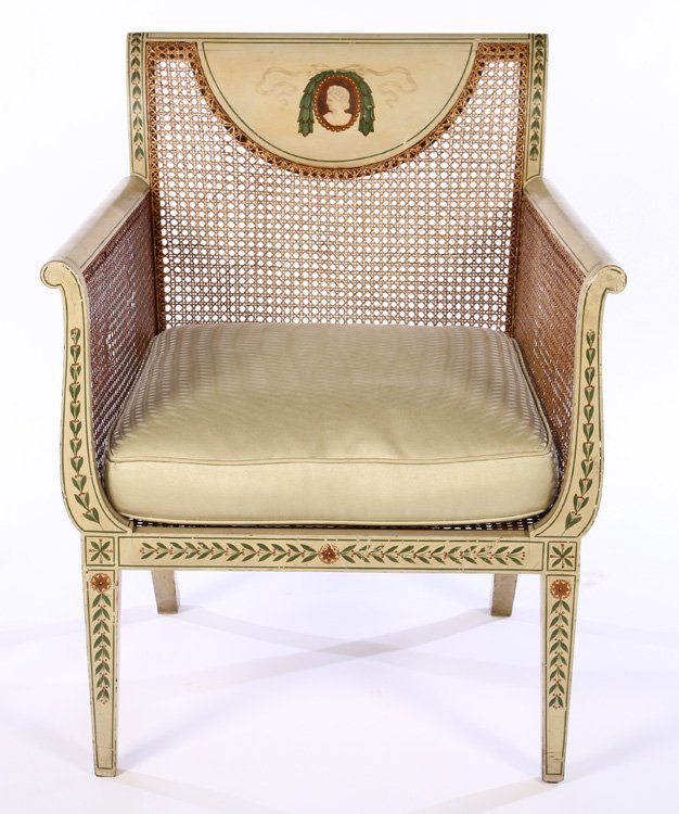 PAIR EARLY 20TH C. ENGLISH ADAMS STYLE ARM CHAIRS - 3