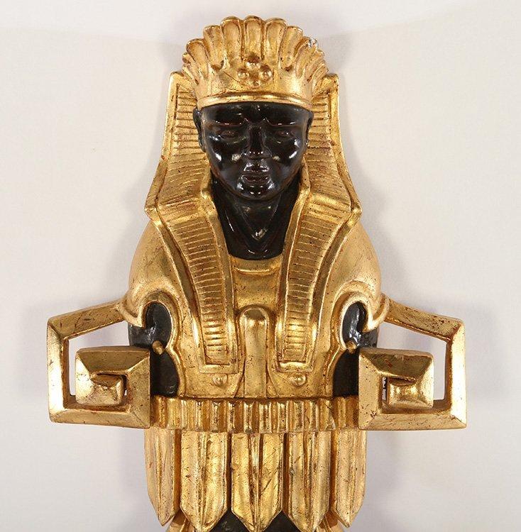 EGYPTIAN REVIVAL GILT WOOD EBONIZED CONVEX MIRROR - 2