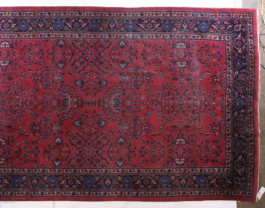 LARGE ROOM SIZED ORIENTAL RUG FLORAL DECORATED - 3