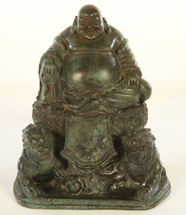 BRONZE BUDDHAS FLANKED BY LIONS - 2