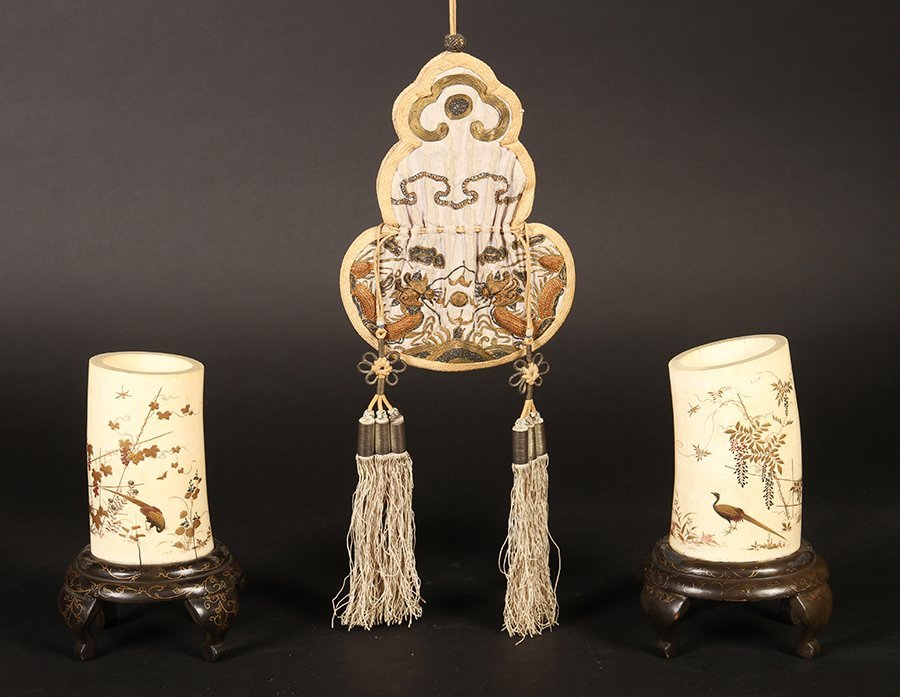 2 IVORY POTS ON STANDS & DRAWSTRING PURSE C.1900