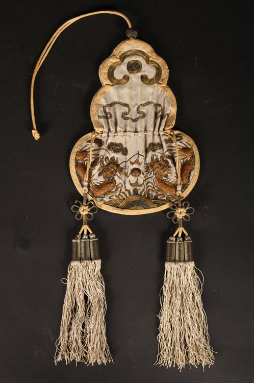 2 IVORY POTS ON STANDS & DRAWSTRING PURSE C.1900 - 4