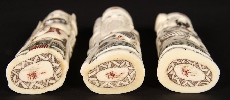 A GROUPING OF 3 FAUX IVORY DECORATIVE OKIMONO - 5
