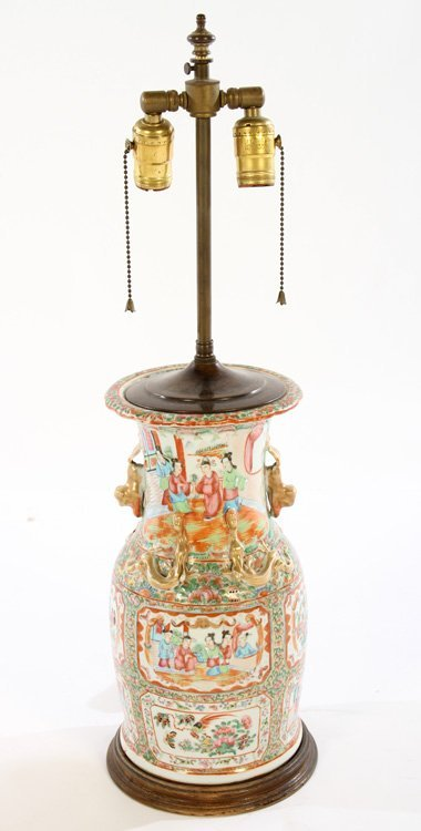 PAIR ASIAN CHINESE PORCELAIN TABLE LAMPS - 2