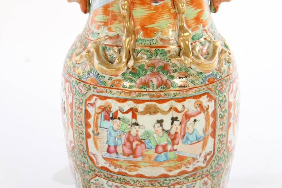 PAIR ASIAN CHINESE PORCELAIN TABLE LAMPS - 4