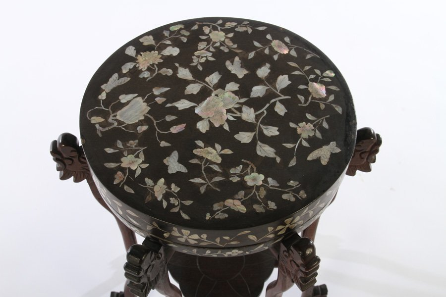 ASIAN MOTHER OF PEARL INLAID PEDESTAL - 2