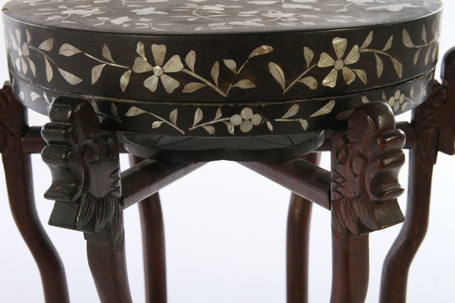 ASIAN MOTHER OF PEARL INLAID PEDESTAL - 3