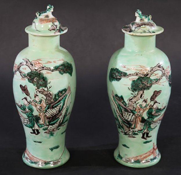 PAIR CHINESE CELADON DECORATED LIDDED JARS