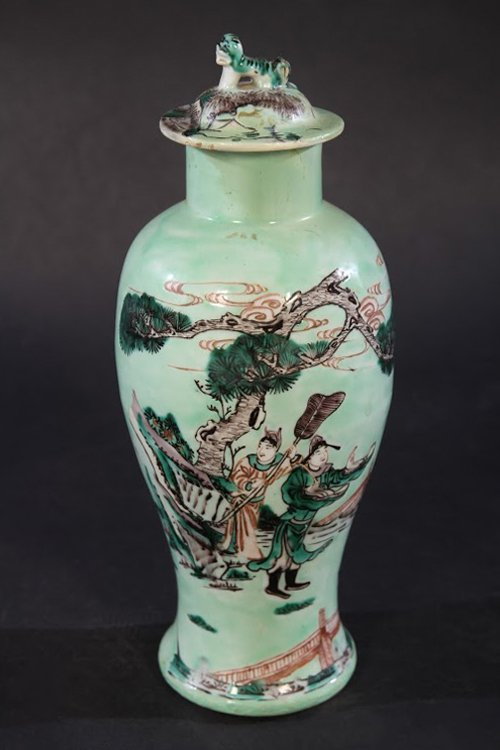 PAIR CHINESE CELADON DECORATED LIDDED JARS - 2