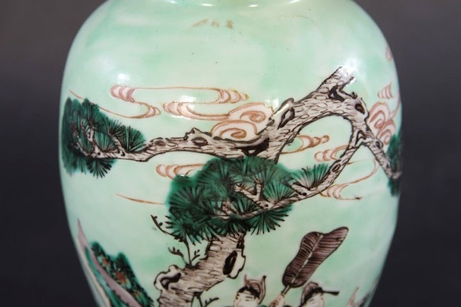 PAIR CHINESE CELADON DECORATED LIDDED JARS - 4