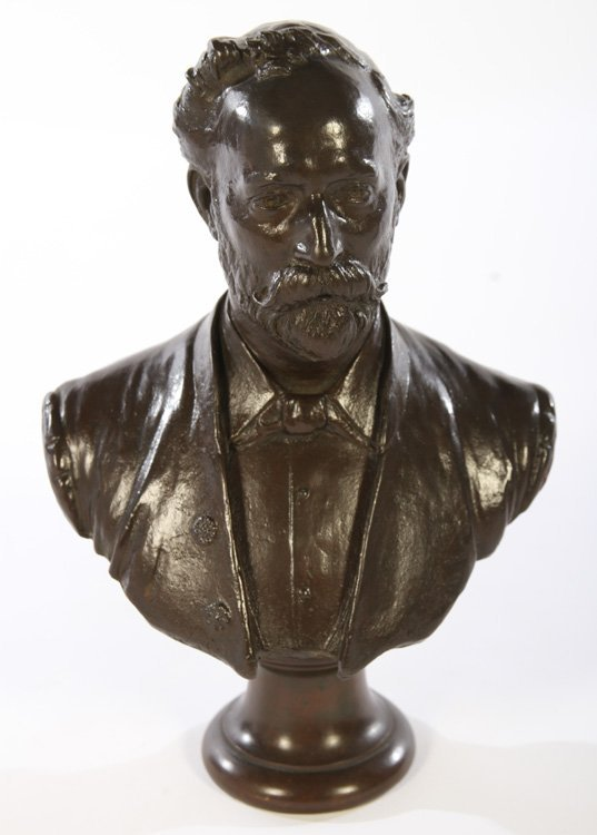 BRONZE BUST OF MAN SIGNED ALBERT TOFT C.1889