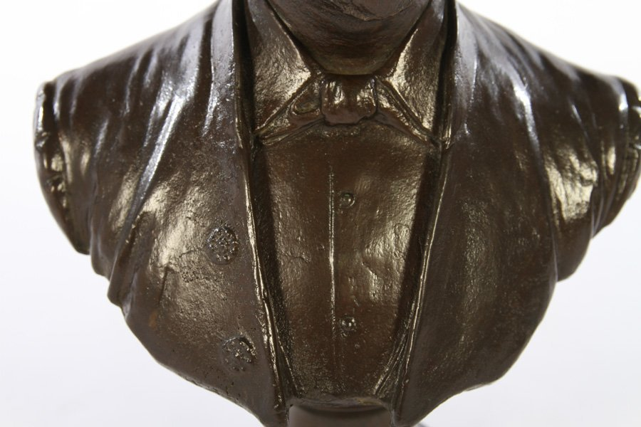 BRONZE BUST OF MAN SIGNED ALBERT TOFT C.1889 - 3