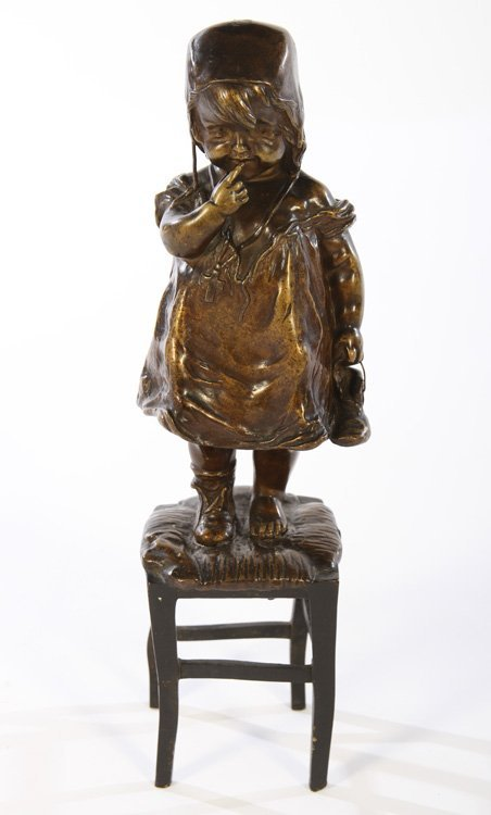 BRONZE STATUE OF YOUNG GIRL