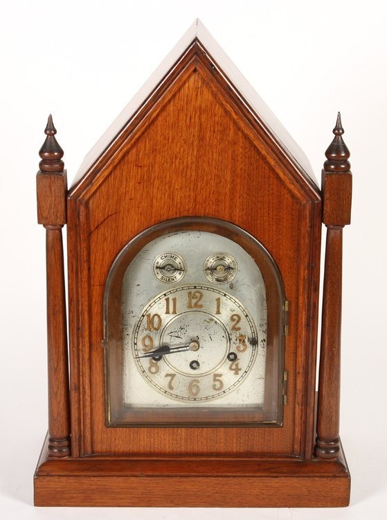 STEEPLE CLOCK IN MAHOGANY BY JUNGHANS C 1900