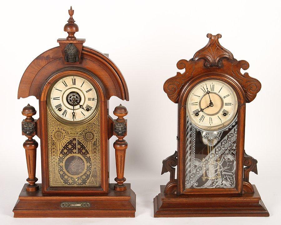2 VICTORIAN CLOCKS BY GILBERT & INGRAHAM C 1890