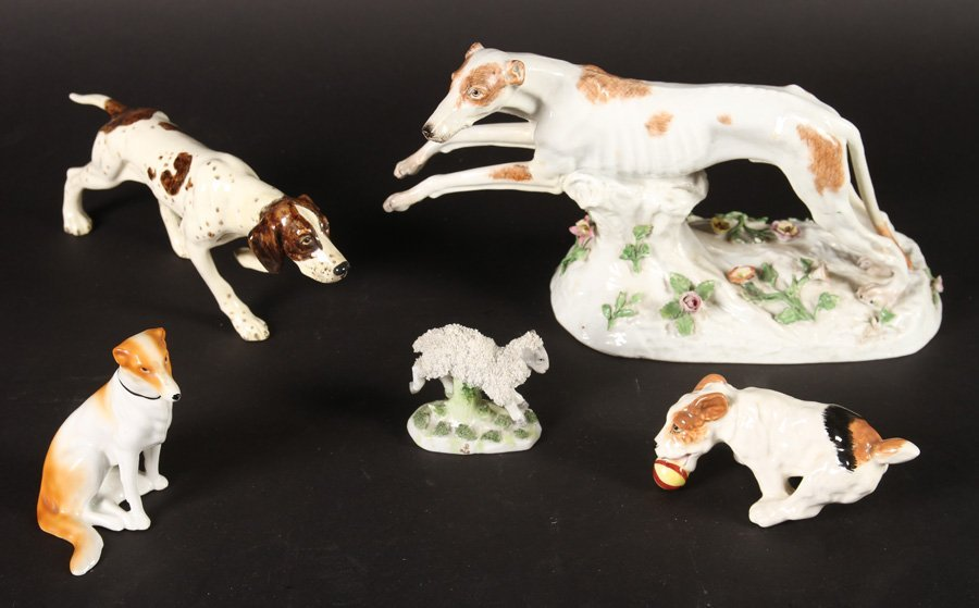 5 PORCELAIN ITEMS ROYAL COPENHAGEN BORZOI 1940