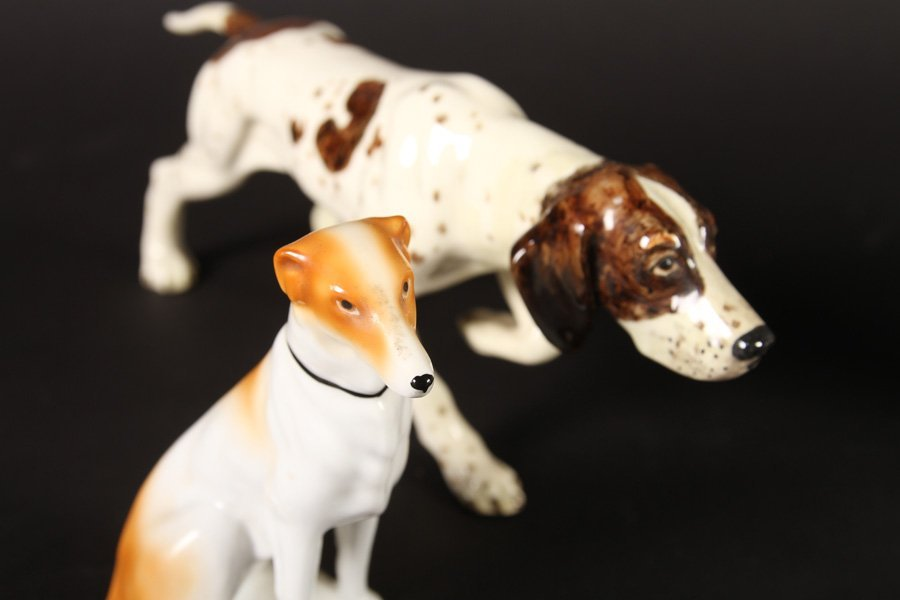 5 PORCELAIN ITEMS ROYAL COPENHAGEN BORZOI 1940 - 3