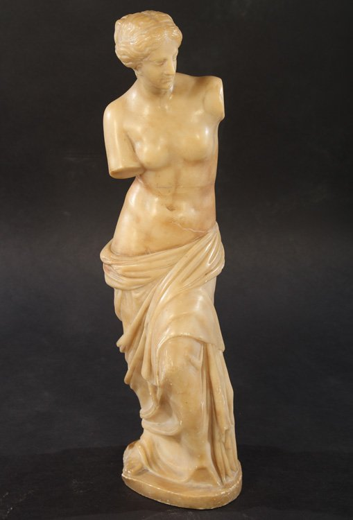 CARVED ALABASTER NEOCLASSICAL WOMAN DRAPED GOWN