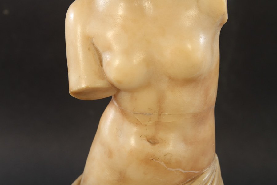 CARVED ALABASTER NEOCLASSICAL WOMAN DRAPED GOWN - 3