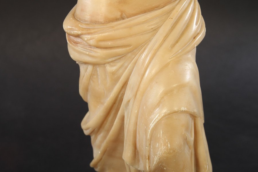 CARVED ALABASTER NEOCLASSICAL WOMAN DRAPED GOWN - 4