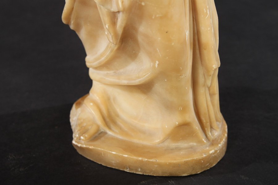 CARVED ALABASTER NEOCLASSICAL WOMAN DRAPED GOWN - 5