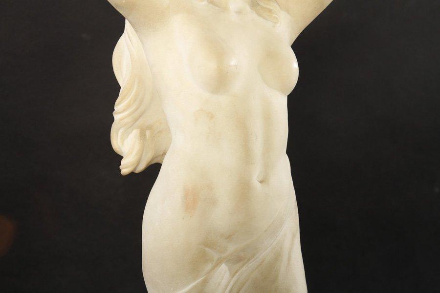 ART NOUVEAU CAST MARBLE DUST FIGURE WOMAN - 3