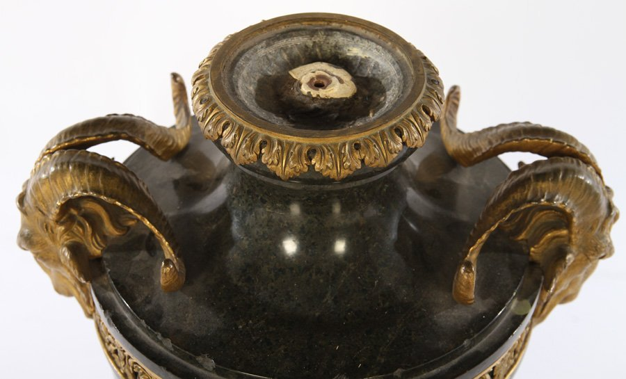 EMPIRE STYLE CARVED MARBLE AND BRONZE URN - 2