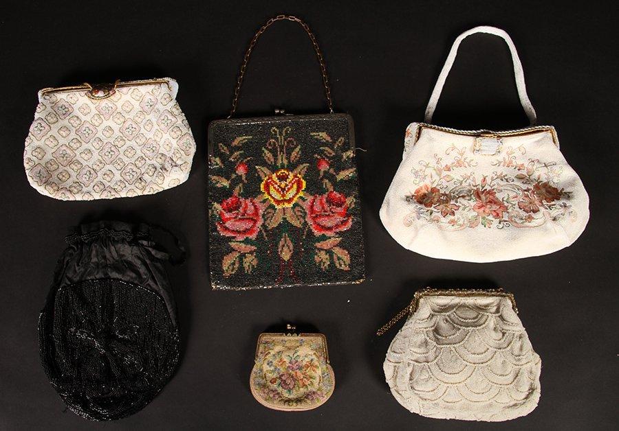 LOT OF 6 ART DECO BEADED PURSES C.1920-1950