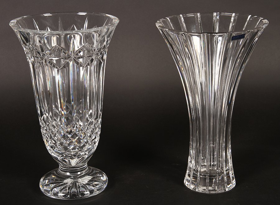 TWO LARGE CRYSTAL VASES BY WATERFORD
