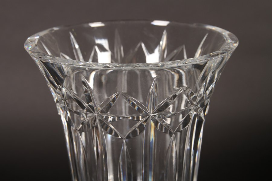 TWO LARGE CRYSTAL VASES BY WATERFORD - 3