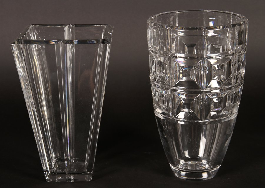 TWO LEAD CRYSTAL VASES BY ROSENTHAL CIRCA 1990