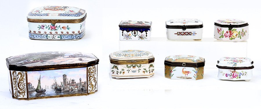 LATE 19TH C. 8 PC LOT PORCELIAN ENAMEL BOXES