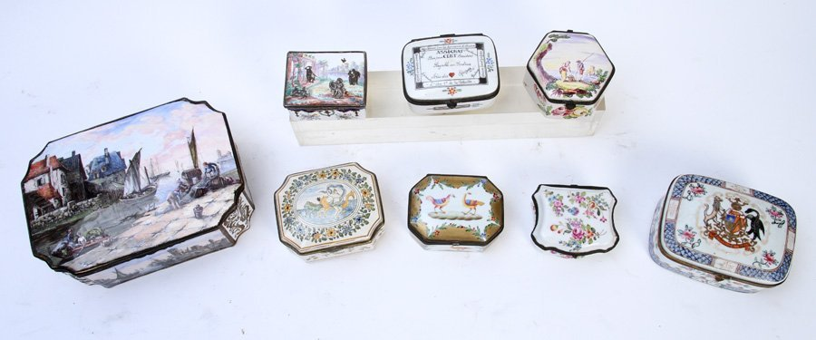 LATE 19TH C. 8 PC LOT PORCELIAN ENAMEL BOXES - 2