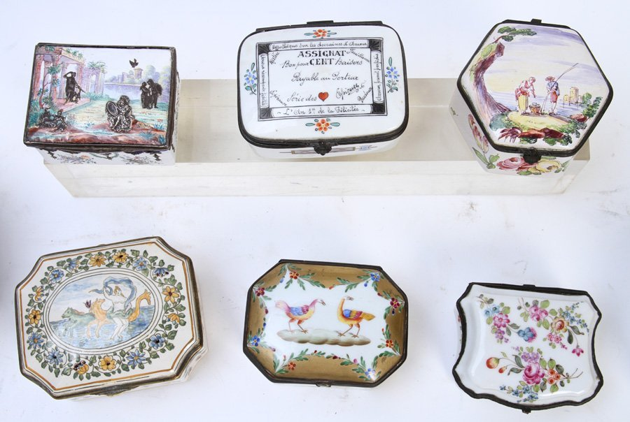 LATE 19TH C. 8 PC LOT PORCELIAN ENAMEL BOXES - 4
