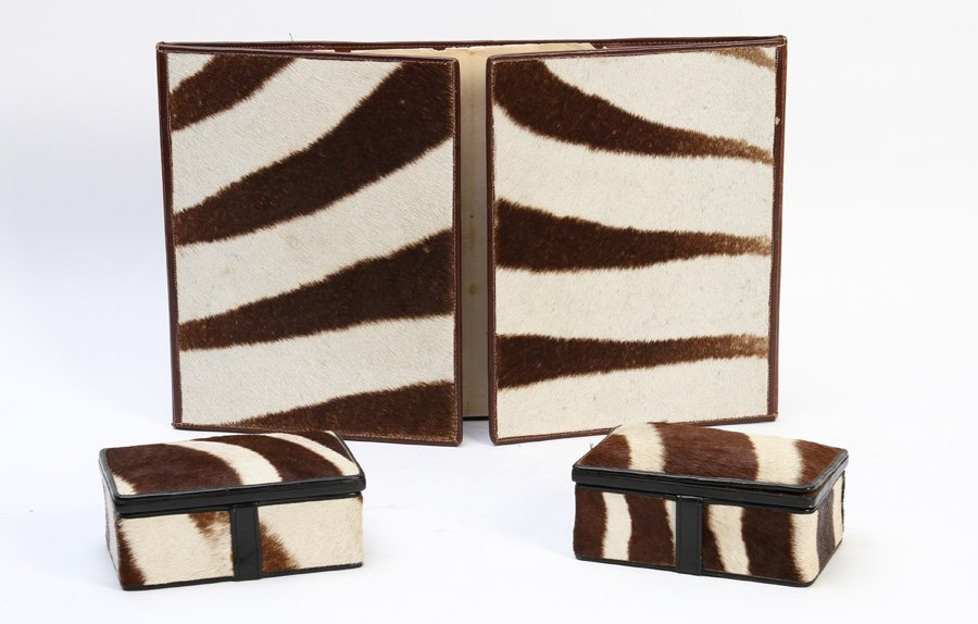 3 PC RARE BROWN ZEBRA HIDE DESK SET MARKED
