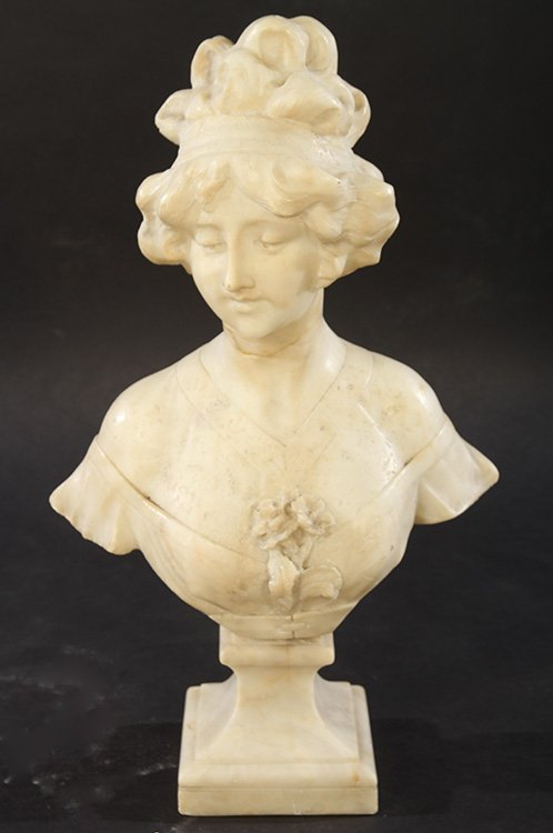 ALABASTER BUST OF WOMAN SIGNED CIPRIANI C.1900