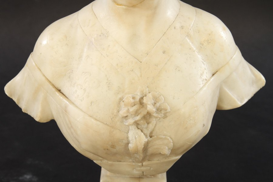 ALABASTER BUST OF WOMAN SIGNED CIPRIANI C.1900 - 3