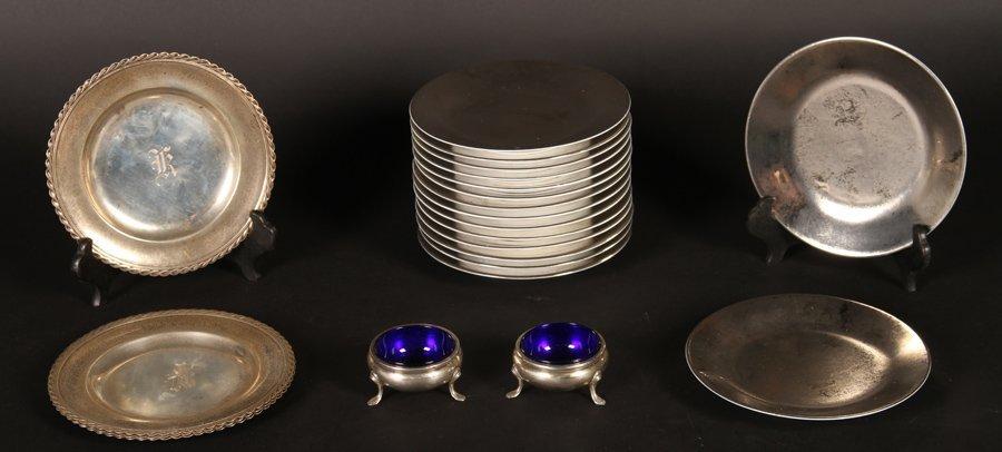 16 PORCELAIN PLATES & 6 STERLING ITEMS C 1930