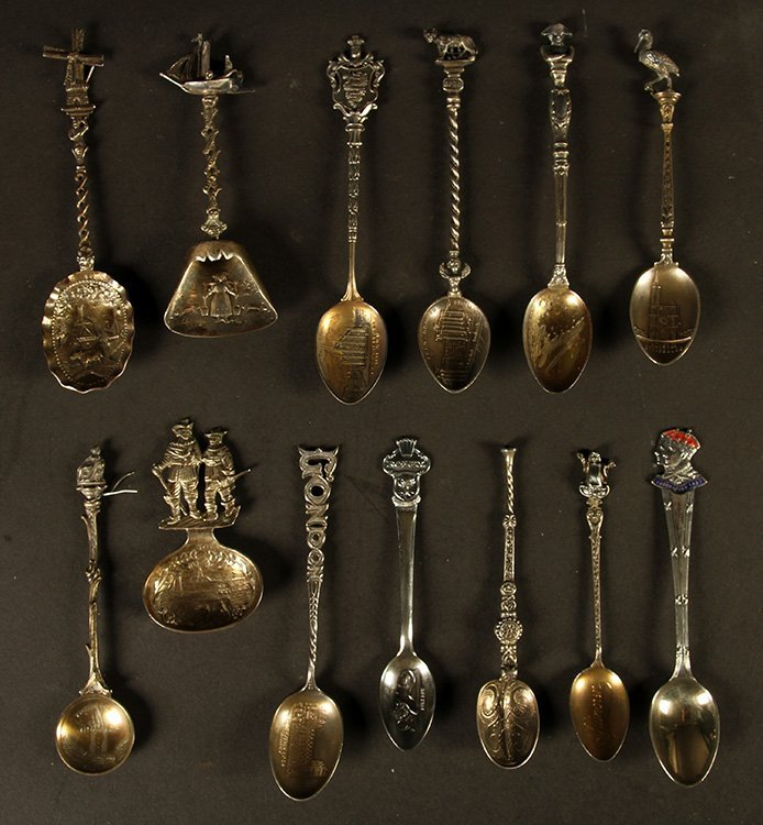THIRTEEN TOURIST SPOONS STERLING SILVER C.1900