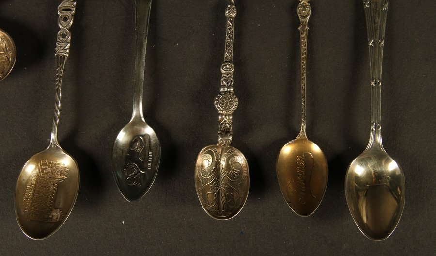 THIRTEEN TOURIST SPOONS STERLING SILVER C.1900 - 4