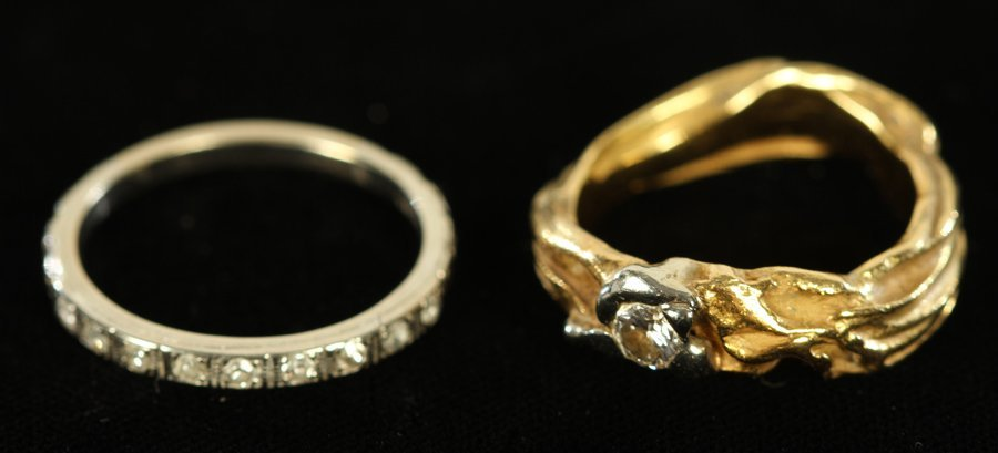 2 RINGS 18 KARAT WHITE & YELLOW GOLD 7.3 DWTS