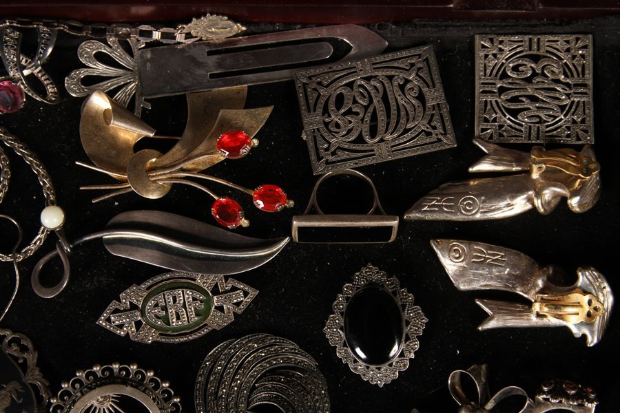 37 STERLING SILVER JEWELRY ITEMS C.1930-1940 - 2