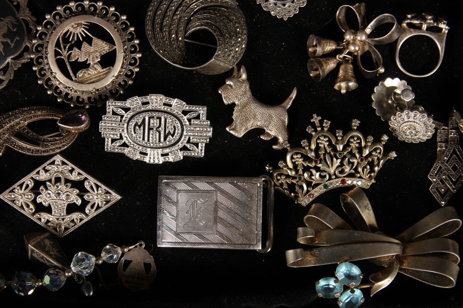 37 STERLING SILVER JEWELRY ITEMS C.1930-1940 - 3