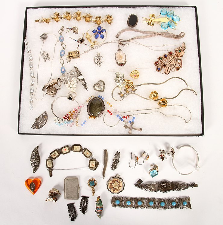 50 PC LOT JEWELRY ITEMS STERLING SILVER C.1940