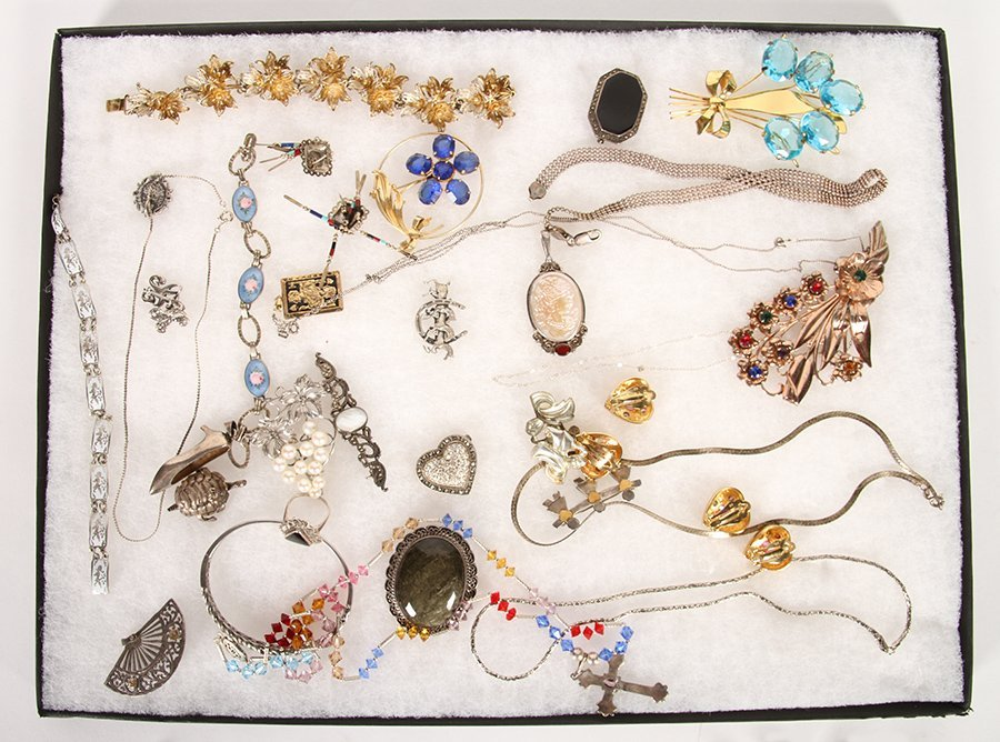 50 PC LOT JEWELRY ITEMS STERLING SILVER C.1940 - 2